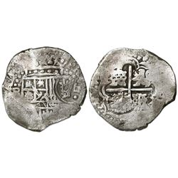 Potosi, Bolivia, cob 4 reales, Philip IV, assayer not visible (style of assayer O, 1649-50), with cr