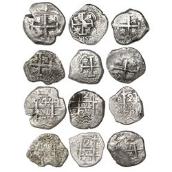 Lot of six Lima (1) and Potosi (5) cob 4R (1) and 2R (5), various dates and assayers (all visible).