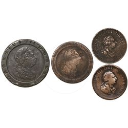 "Lot of four British copper coins of George III: ""cartwheel"" twopence 1797; ""cartwheel"" penny 1797; a"