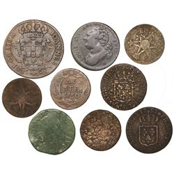 Lot of eight copper coins of France (7), Portugal (1) and Russia (1), 1700s.