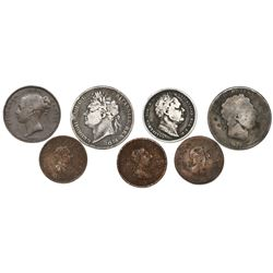Lot of seven British silver (3) and copper (4) coins of George III, George IV, William IV and Victor