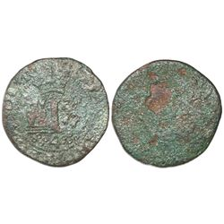 Mexico City, Mexico, copper 4 maravedis, Charles-Joanna,  Early Series,  rare.