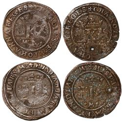 Lot of two Mexico City, Mexico, copper 4 maravedis, Charles-Joanna,  Late Series,  king's name as CH
