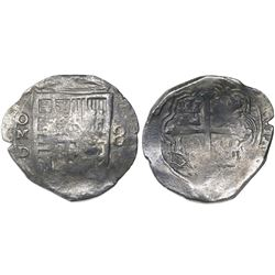 Mexico City, Mexico, cob 8 reales, Philip IV, assayer D (1620s).