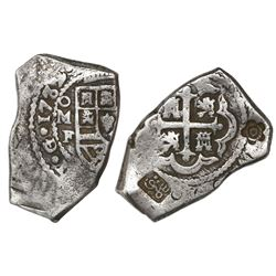 Mexico City, Mexico, cob 8 reales, 1732F, with 5-petal flower and Hijri date countermark for Madura