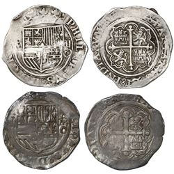 Lot of two Mexico City, Mexico, cob 2 reales, Philip II, assayer O, different varieties.