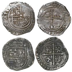 Lot of two Mexico City, Mexico, cob 2 reales, Philip II, assayer F.