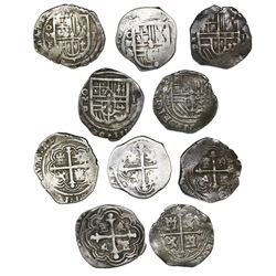 Lot of five Mexico City, Mexico, cob 1R, Philip III, various assayers: F (2), A/F, D/F and D.