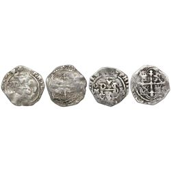 Lot of two Mexico City, Mexico, cob 1/2R, Philip III, assayer F, both with partial dates that appear