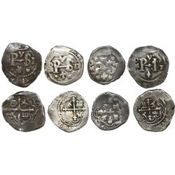 Lot of four Mexico City, Mexico, cob 1/2R, Philip III, assayers F (3) and D/F.
