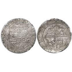 Lima, Peru, cob 4 reales, Philip II, assayer Diego de la Torre, *-4 to left, P-oD to right, encapsul