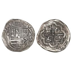 Lima, Peru, cob 2 reales, Philip II, assayer Diego de la Torre, *-(ii) to left, P-oD/X to right, ver