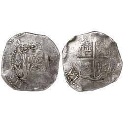 Lima, Peru, cob 8 reales, 1659V, assayer to left, denomination to right (Series IA), encapsulated NG