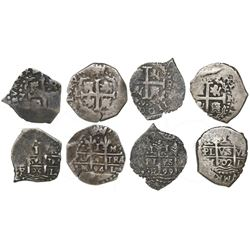 Lot of four Lima, Peru, cob 1R: 1685R, 1694M, 1699R and 1702H.