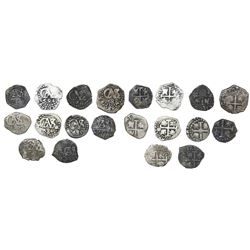 Lot of ten Lima, Peru, cob 1/2R of Charles II, all dated, as follows: 1684, 1685 (2), 1690, 1694, 16