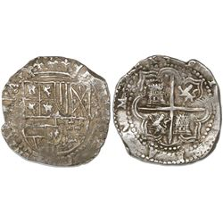 Potosi, Bolivia, cob 8 reales, Philip II, assayer B (4th period).