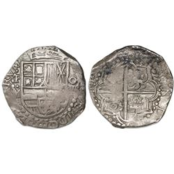 Potosi, Bolivia, cob 8 reales, Philip III, assayer M, lions and castles transposed in shield.