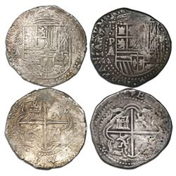 Lot of two Potosi, Bolivia, cob 2 reales, Philip II, assayer A/B.