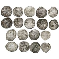 Lot of nine Potosi, Bolivia, cob 2 reales of Philip III and IV, assayers R (curved leg), Q, M, T and