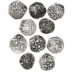 Lot of five Potosi, Bolivia, cob 1R with assayer T to RIGHT (1618), rare.