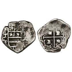 Potosi, Bolivia, cob 1 real, Philip III, assayer T ABOVE mintmark P to right (ca. 1620), quadrants o