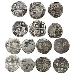 Lot of seven Potosi, Bolivia, cob 1R, Philip III, assayers R, Q, M and T (where visible).