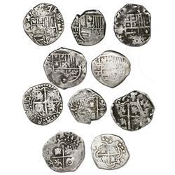 Lot of five Potosi, Bolivia, cob 1R, Philip IV, assayers T and P (late 1620s to early 1630s).