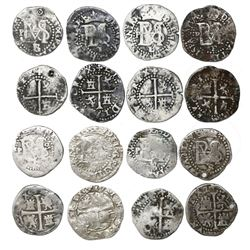 Study collection of eight Potosi, Bolivia, cob 1/2R, Philip II, assayers L and B (1st and 2nd period
