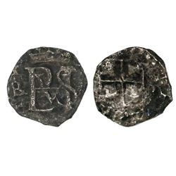 Potosi, Bolivia, cob 1/2 real, Philip III, assayer PAL below mintmark P to left (1618 only), very ra