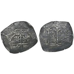 "Potosi, Bolivia, cob 8 reales, 1666E, ""666"" date between pillars."