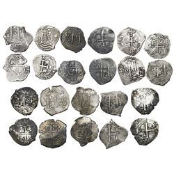 Complete date-run of 11 Potosi, Bolivia, cob 2 reales of assayer E under Charles II, as follows: 166