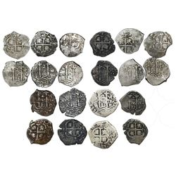 Lot of ten Potosi, Bolivia, cob 2 reales of Charles II, all dated, as follows: 1669E, 1679C, 1679V,