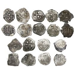 Lot of nine Potosi, Bolivia, cob 2 reales of Charles II, all dated, as follows: 1679C, 1680V, 1681V,