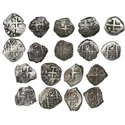 Lot of nine Potosi, Bolivia, cob 2 reales of Charles III, all dated, assayers V-Y (where visible), a