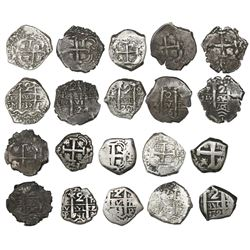 Lot of ten Potosi, Bolivia, cob 2 reales of the 1700s, all dated, as follows: 1705Y, 1706Y, 1709Y, 1