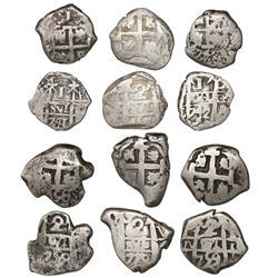 Lot of six Potosi, Bolivia, cob 2R (4) and 1R (2), various dates.