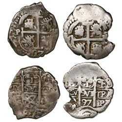Lot of two Potosi, Bolivia, cob 1R dated 1697, one assayer CH and the other F/CH, both rare.