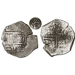 Bogota, Colombia, cob 4 reales, Philip IV, assayer not visible (style of Pinto, ca. 1630), with crow