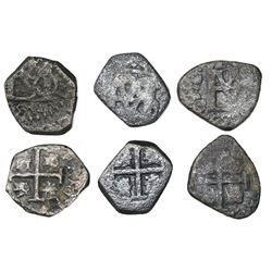 Lot of three Bogota, Colombia, cob 1/2R, Philip IV, assayers not visible.