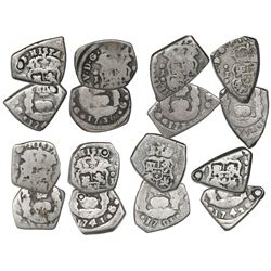 Lot of eight Guatemala cob 1R, assayer J (where visible), dated 1736 (2), 1738, 1741, 1742, 174(?),