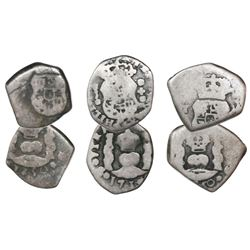 Lot of three Guatemala cob 1/2R, assayer J (where visible), dated 1735 and 1750 (2).