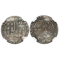 Seville, Spain, 1 real, Ferdinand-Isabel, assayer Gothic D to left, mintmark S to right, encapsulate