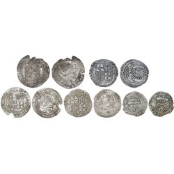 Lot of five minors (four 1R and one 1/2R) of Ferdinand-Isabel, mints of Seville (four) and Toledo (o