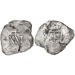 "Seville, Spain, cob 8 reales, Charles II, assayer not visible (M), ""Maria"" type."