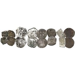 Lot of eight Spanish and Spanish colonial silver-cob minors: four Mexico (1R Charles-Joanna assayer