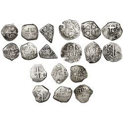 Lot of nine Spanish colonial cob minors (2R and 1R) of Lima (1), Potosi (7) and Guatemala (1).