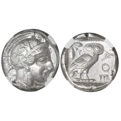 "Attica, Athens, AR tetradrachm, ""owl,"" 440-404 BC, encapsulated NGC Choice XF, strike 5/5 and surfac"