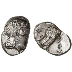 "Attica, Athens, AR tetradrachm, ""owl,"" late mass coinage issue ca. 393-294 BC"