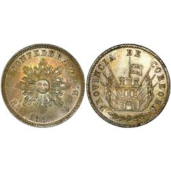 Cordoba, Argentina, 4 reales, 1852, uneven rays around sun, encapsulated NGC MS 63, finest known in