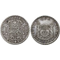 Potosi, Bolivia, pillar 8 reales, Charles III, 1770JR, no dot after king's name.